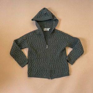 Aran Crafts Ireland Merino Wool Hooded Cardigan